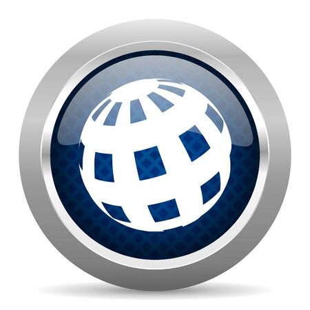 parallels: earth blue circle glossy web icon on white background, round button for internet and mobile app