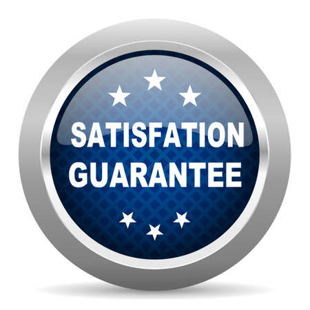 satisfaction guarantee: satisfaction guarantee blue circle glossy web icon on white background, round button for internet and mobile app