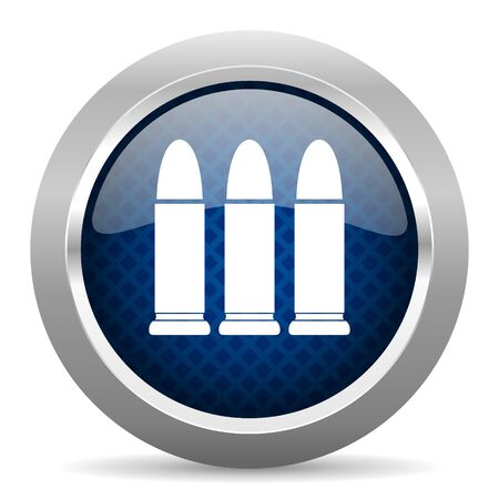 ammunition: ammunition blue circle glossy web icon on white background, round button for internet and mobile app