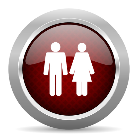 chrome man: couple red glossy web icon