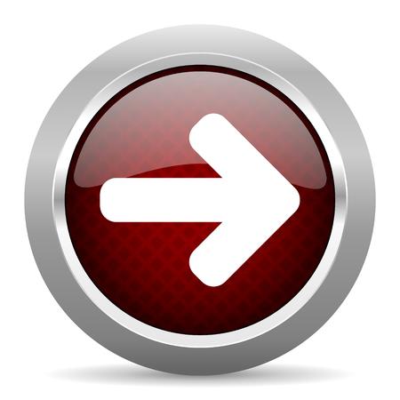 right arrow: right arrow red glossy web icon Stock Photo