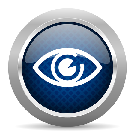 blue eye: eye blue circle glossy web icon on white background, round button for internet and mobile app