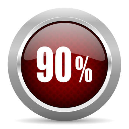 90: 90 percent red glossy web icon Stock Photo