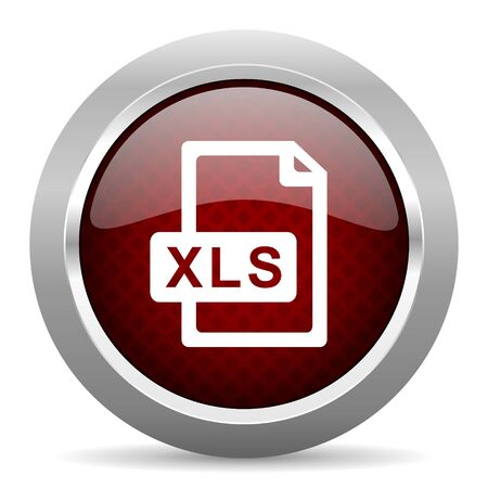 bibliography: xls file red glossy web icon Stock Photo