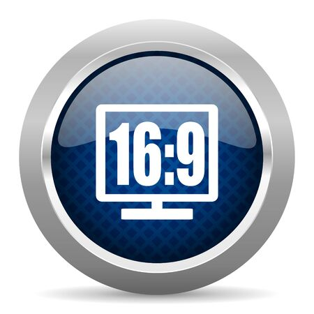 16 9 display: 16 9 display blue circle glossy web icon on white background, round button for internet and mobile app