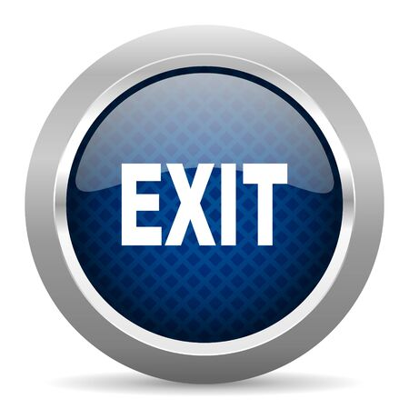 emergency exit label: exit blue circle glossy web icon on white background, round button for internet and mobile app Stock Photo