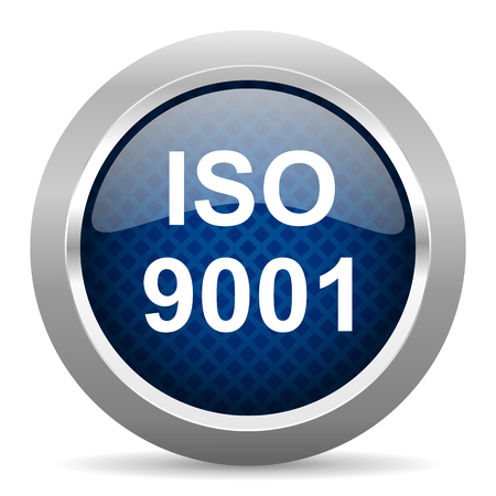 norm: iso 9001 blue circle glossy web icon on white background, round button for internet and mobile app
