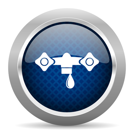 drinkable: water blue circle glossy web icon on white background, round button for internet and mobile app