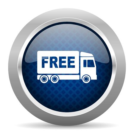 delivery icon: free delivery blue circle glossy web icon on white background, round button for internet and mobile app Stock Photo