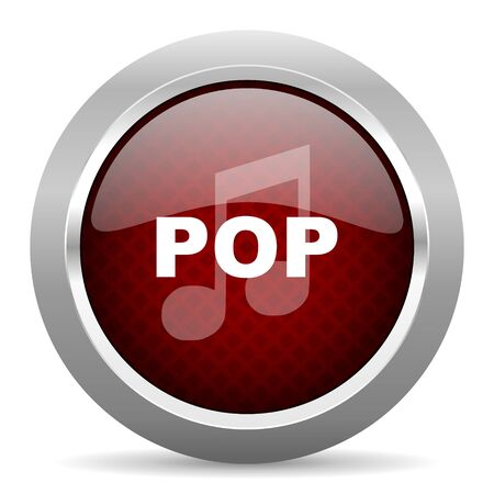 pop music: pop music red glossy web icon Stock Photo