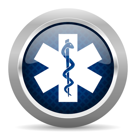 silver circle: emergency blue circle glossy web icon on white background, round button for internet and mobile app