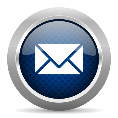 glossy button: email blue circle glossy web icon on white background, round button for internet and mobile app