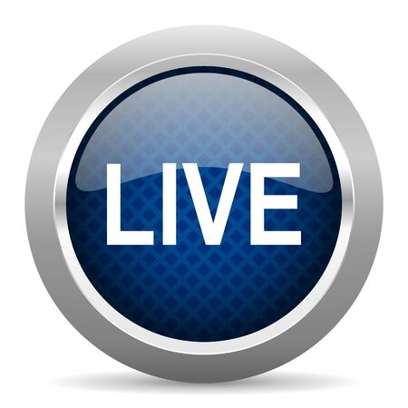 news cast: live blue circle glossy web icon on white background, round button for internet and mobile app