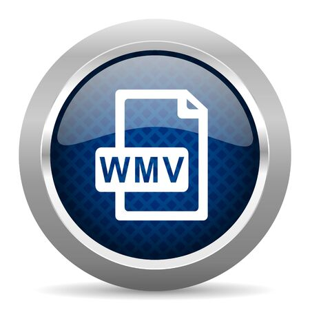 wmv: wmv file blue circle glossy web icon on white background, round button for internet and mobile app