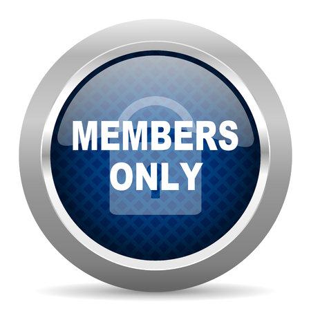members only: members only blue circle glossy web icon on white background, round button for internet and mobile app