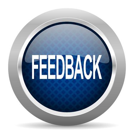 feedback blauwe cirkel glossy web pictogram op een witte achtergrond, ronde knop voor internet en mobiele app Stockfoto