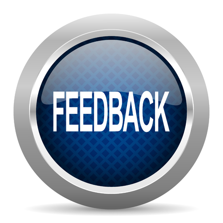 feedback blue circle glossy web icon on white background, round button for internet and mobile app