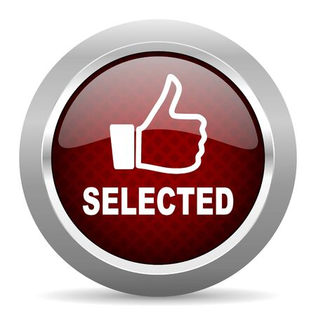 selected: selected red glossy web icon Stock Photo