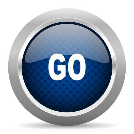 approval button: go blue circle glossy web icon on white background, round button for internet and mobile app