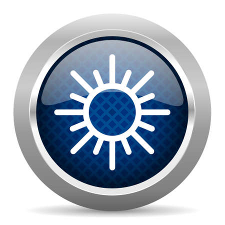 metallic  sun: sun blue circle glossy web icon on white background, round button for internet and mobile app