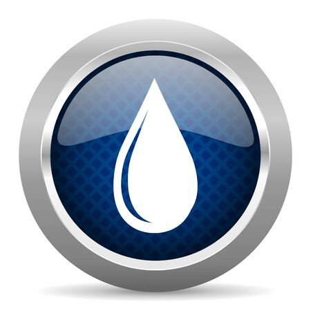 drinkable: water drop blue circle glossy web icon on white background, round button for internet and mobile app