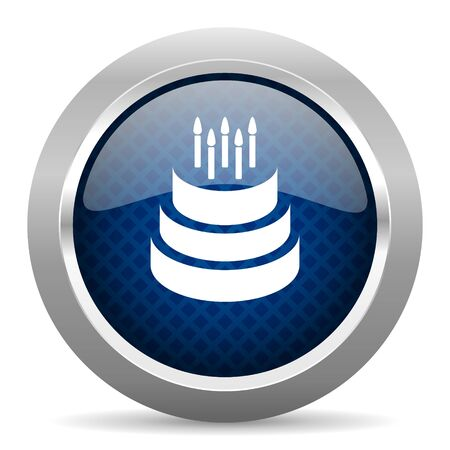 blue icon: cake blue circle glossy web icon on white background, round button for internet and mobile app Stock Photo