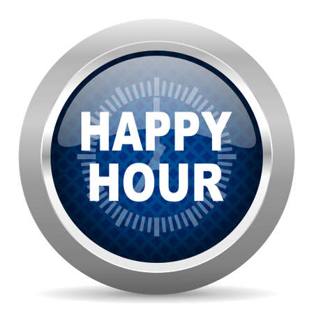 happy hour drink: happy hour blue circle glossy web icon on white background, round button for internet and mobile app Stock Photo