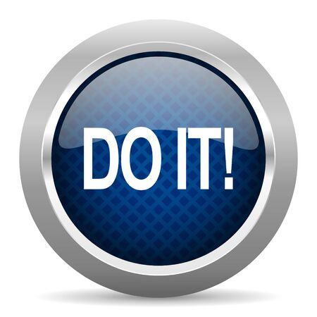 just do it: do it blue circle glossy web icon on white background, round button for internet and mobile app Stock Photo