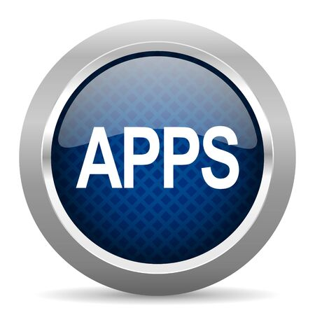 mobile app: apps blue circle glossy web icon on white background, round button for internet and mobile app