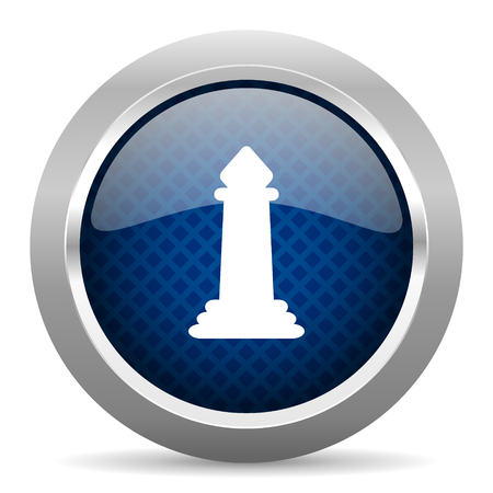 king master: chess blue circle glossy web icon on white background, round button for internet and mobile app Stock Photo