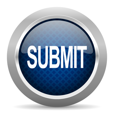 submit: submit blue circle glossy web icon on white background, round button for internet and mobile app