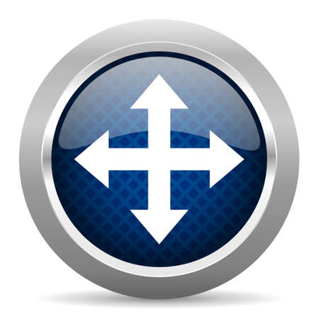 sterring: arrow blue circle glossy web icon on white background, round button for internet and mobile app Stock Photo
