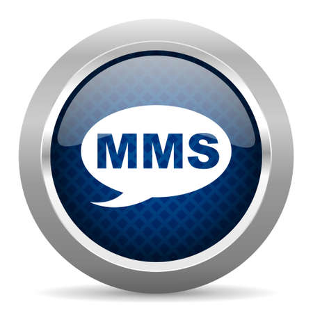 mobile app: mms blue circle glossy web icon on white background, round button for internet and mobile app