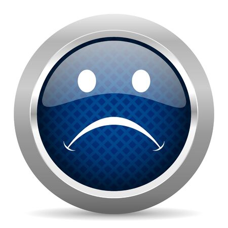 negate: cry blue circle glossy web icon on white background, round button for internet and mobile app Stock Photo