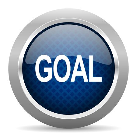 ambitions: goal blue circle glossy web icon on white background, round button for internet and mobile app Stock Photo