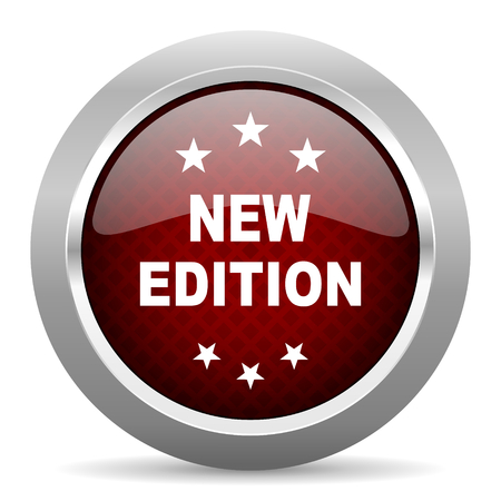improved: new edition red glossy web icon Stock Photo