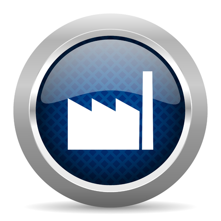factory blue circle glossy web icon on white background, round button for internet and mobile app Stock Photo