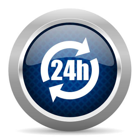 chrome cart: 24h blue circle glossy web icon on white background, round button for internet and mobile app Stock Photo