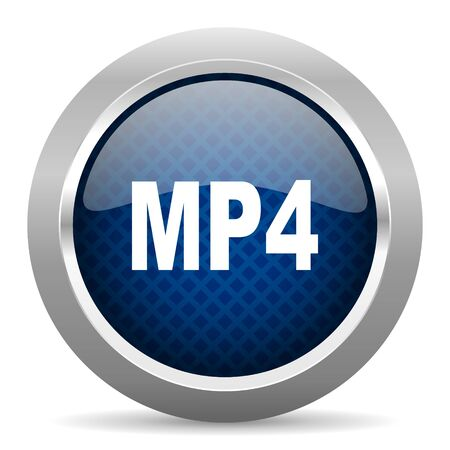 mp4: mp4 blue circle glossy web icon on white background, round button for internet and mobile app Stock Photo