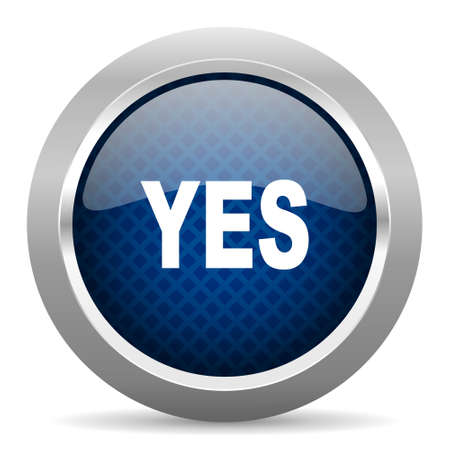 yea: yes blue circle glossy web icon on white background, round button for internet and mobile app