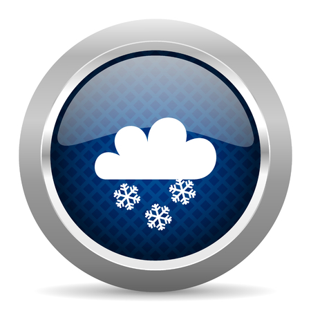 snowing: snowing blue circle glossy web icon on white background, round button for internet and mobile app