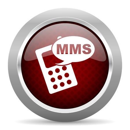 mms icon: mms red glossy web icon Stock Photo