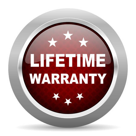 lifetime: lifetime warranty red glossy web icon