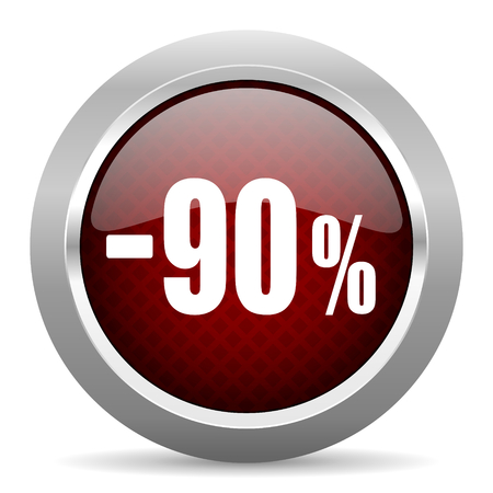 90: 90 percent sale retail red glossy web icon Stock Photo