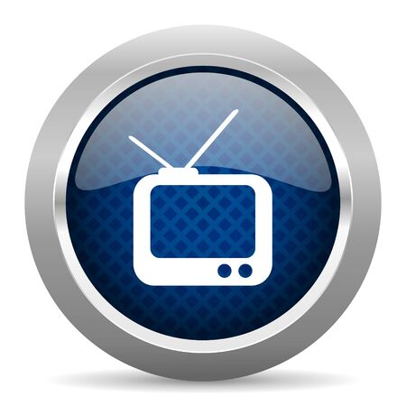 glossy button: tv blue circle glossy web icon on white background, round button for internet and mobile app Stock Photo