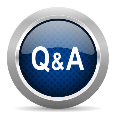 qa: question answer blue circle glossy web icon on white background, round button for internet and mobile app