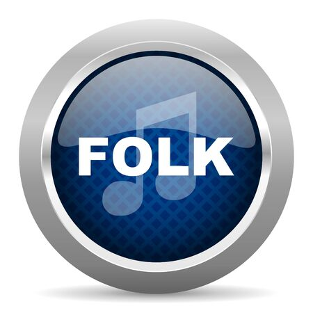 folk music: folk music blue circle glossy web icon on white background, round button for internet and mobile app