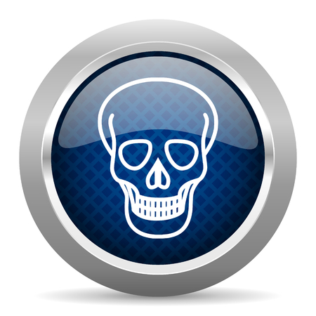 button icon: skull blue circle glossy web icon on white background, round button for internet and mobile app