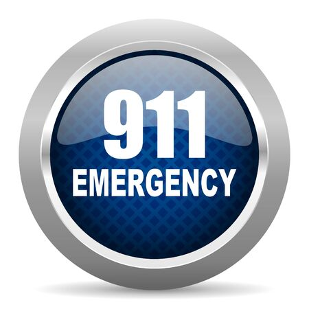 tel: number emergency 911 blue circle glossy web icon on white background, round button for internet and mobile app