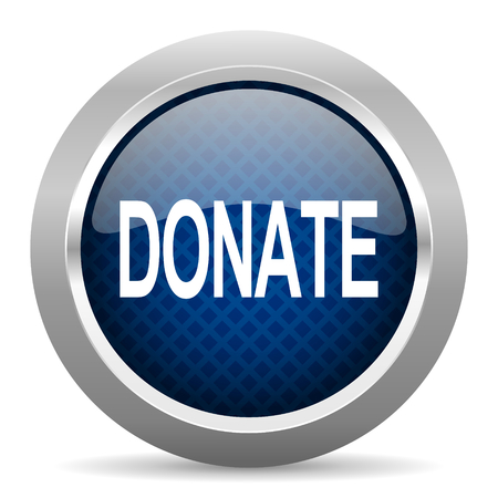 aiding: donate blue circle glossy web icon on white background, round button for internet and mobile app